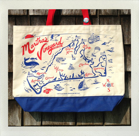 Martha's Vineyard Beach Tote • Red & Blue