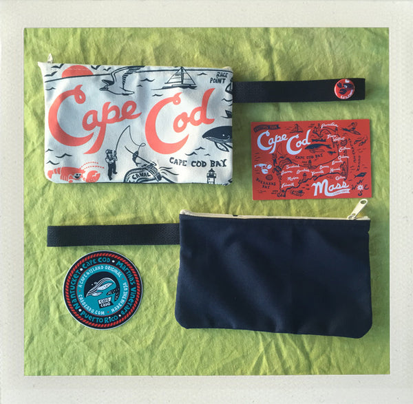 Cape Cod Zip Pouch • Coral & Navy & Navy
