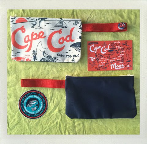 Cape Cod Zip Pouch • Red & Navy