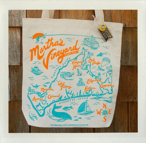 Martha's Vineyard Tote Natural • Orange & Aqua