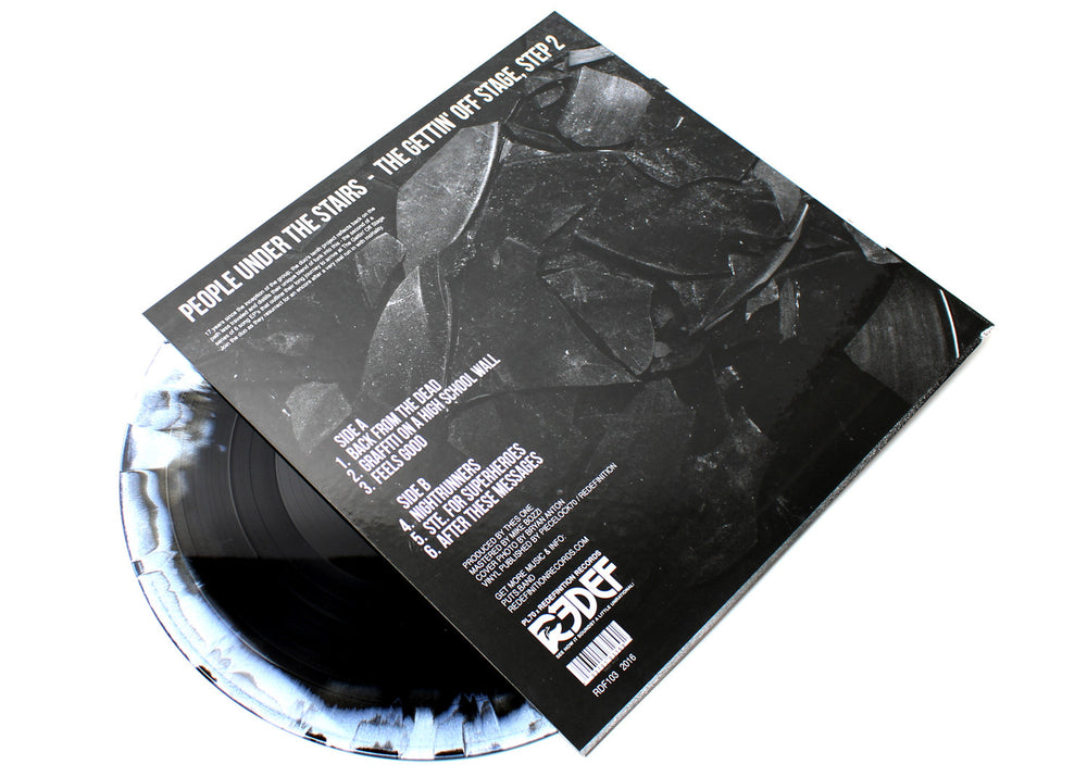 "People Under The Stairs - The Gettin' Off Stage, STEP 2 (Deluxe Two-Tone Black/White 12"" Vinyl EP)"