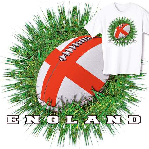 England Rugby Ball & Grass T-shirt
