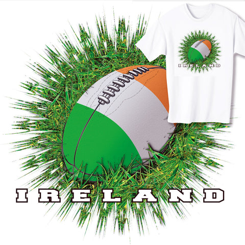 Ireland Rugby Ball & Grass T-shirt
