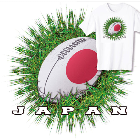 Japan Rugby Ball & Grass T-shirt