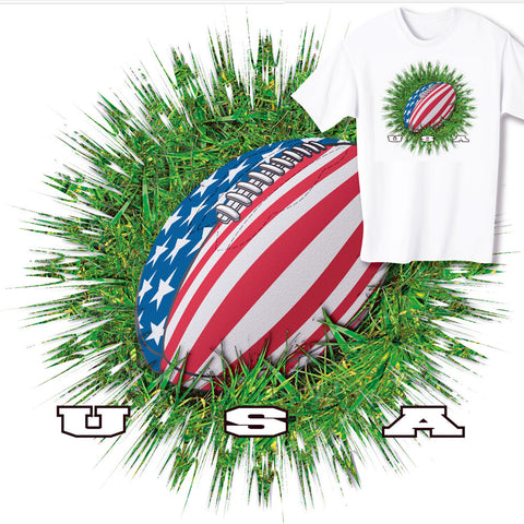 American Rugby Ball & Grass T-shirt