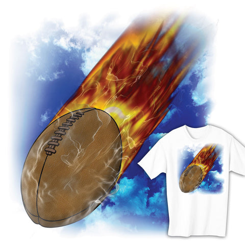 Flaming Rugby Ball T-shirt