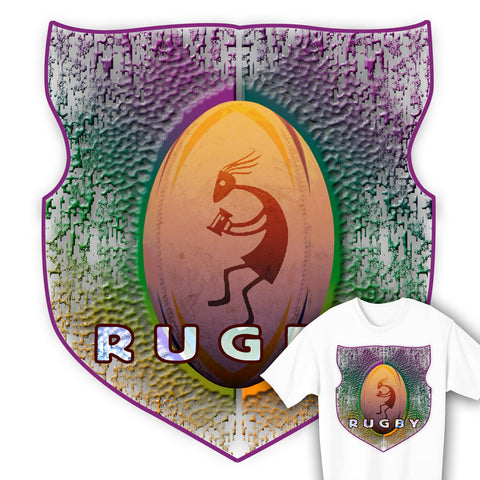 Kokopelli Rugby Ball & Shield T-shirt