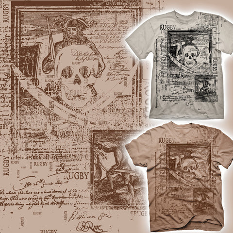 Rugby Pirate Map T-shirt