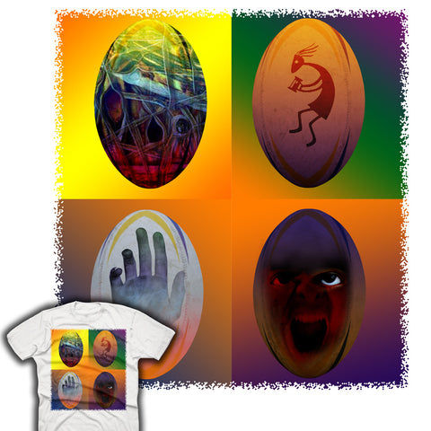 Rugby Ball Hand & Kokopelli T-shirt
