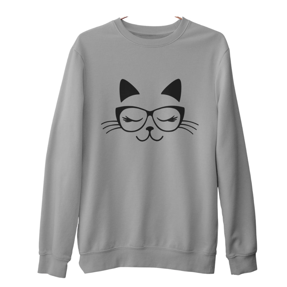 gray long sleeved womens sweatshirt with cat wearing glasses graphic