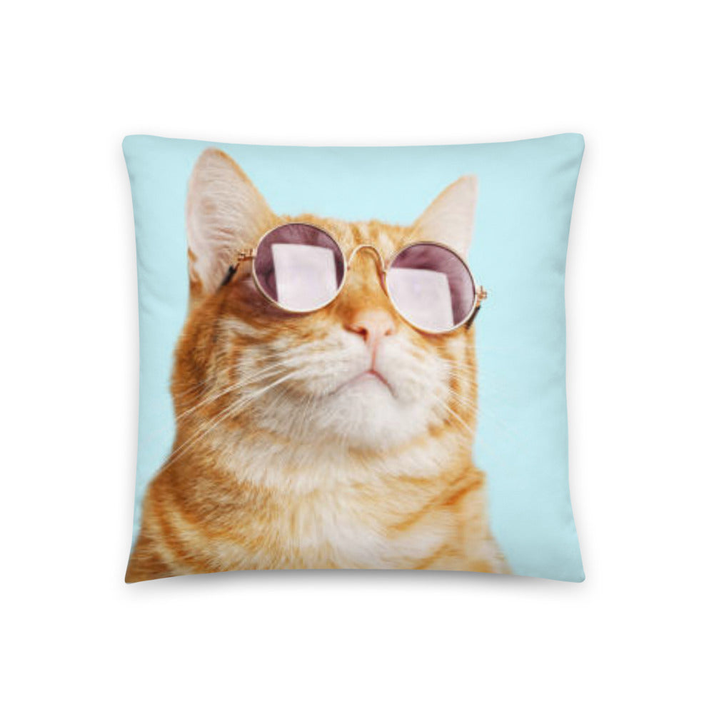 18 x 18 inch throw pilow featuring ginger cat on light blue background. Cat is facing light and wearing sunglasses. Back of pillow is white