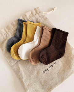 Ribbed Socks Earthy -Pack of 5