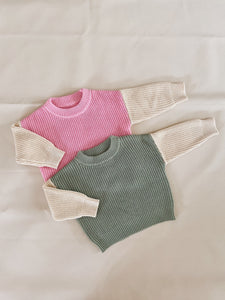 Martin Colour Block Knit Jumper - Sage/Cream