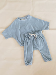 Romy French Terry Set - Powder Blue