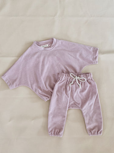 Romy French Terry Set - Powder Pink