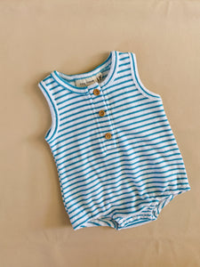 Uma Terry Towel Bodysuit - Azure Blue Stripe