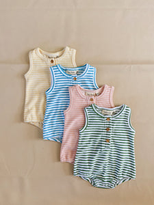 Uma Terry Towel Bodysuit - Pink Stripe