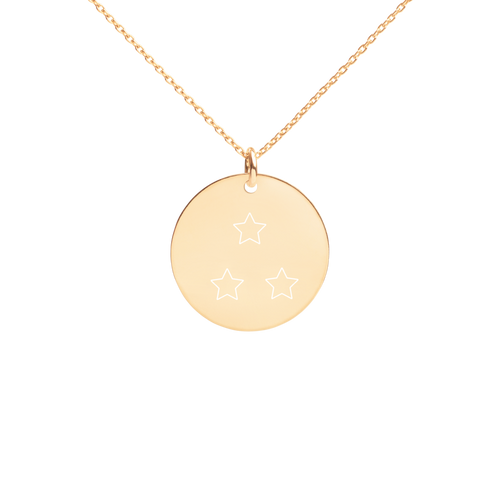 3 Star D Ball Engraved Silver Disc Necklace