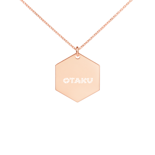 Otaku Engraved Silver Hexagon Necklace