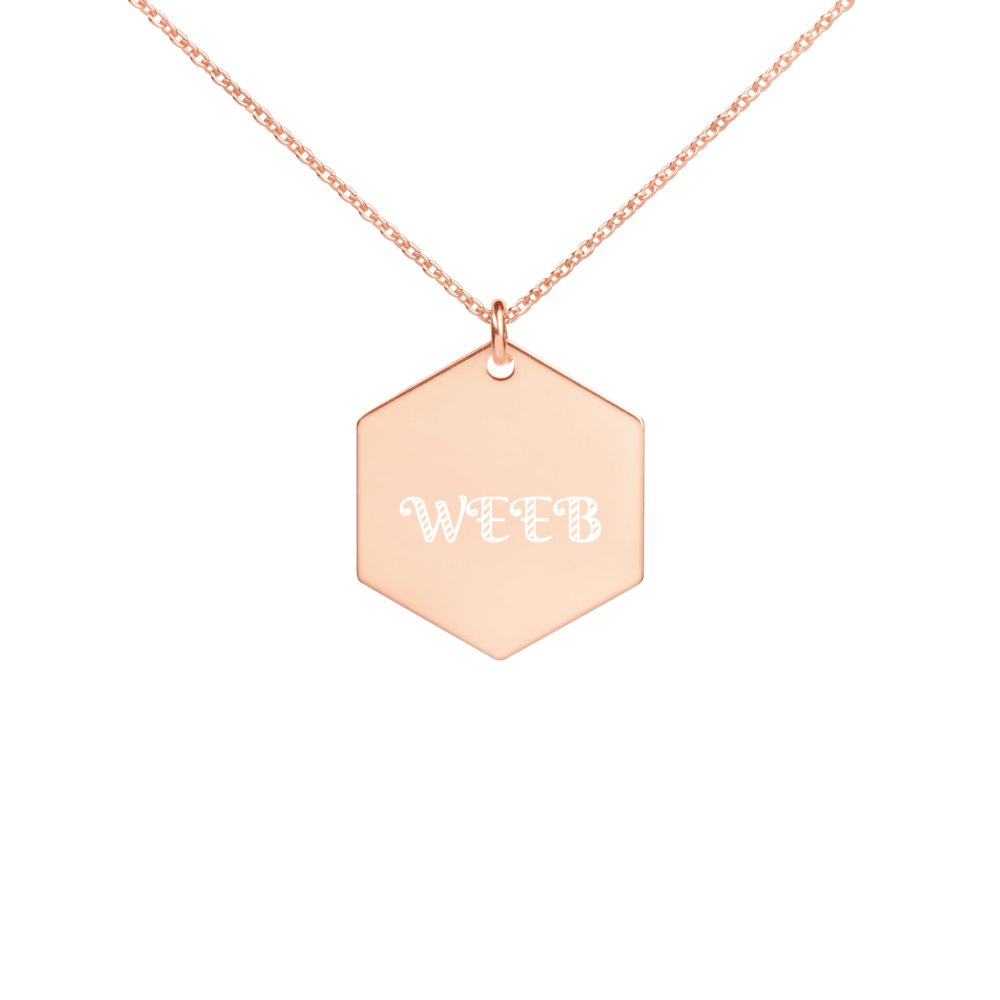 Weeb Engraved Silver Hexagon Necklace
