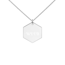 Load image into Gallery viewer, Weeb Engraved Silver Hexagon Necklace