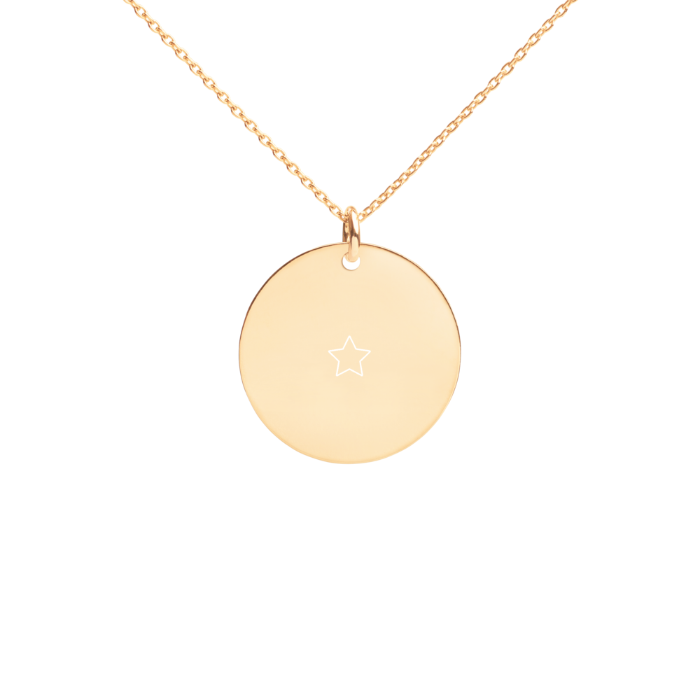 1 Star D Ball Engraved Silver Disc Necklace