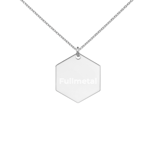 Fullmetal Engraved Silver Hexagon Necklace