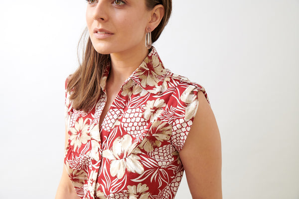 Vintage Pineapple Ladies Shirt Dress- LAST ONE SIZE S