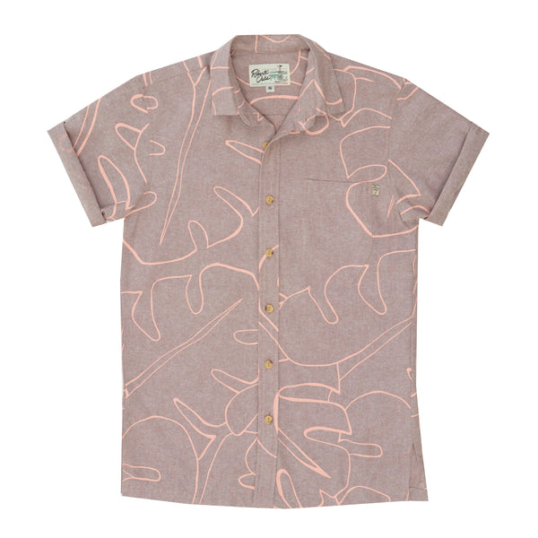 Abstract Monstera Linen Blend Dusty Mauve - LIMITED RESTOCK