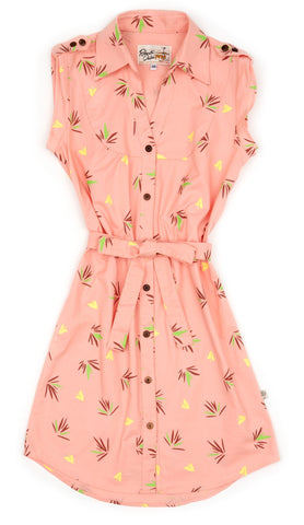 Shirt Dress Fan Palm Peach - XS ONLY
