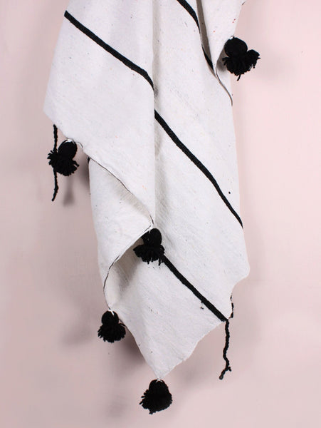 Cotton Stripe Pom Blanket - White/Black