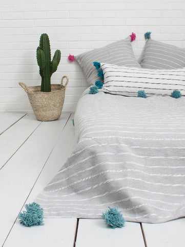 Cotton Scribble Stripe Blanket - Grey/Blue