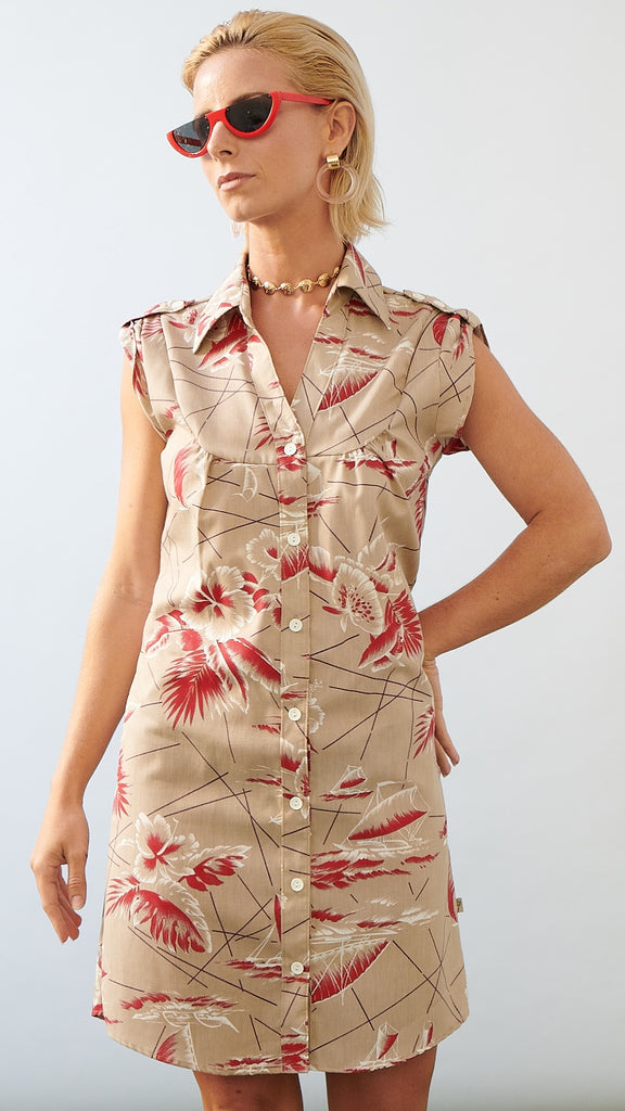 Shirt Dress South Seas Tan - LAST ONE XS
