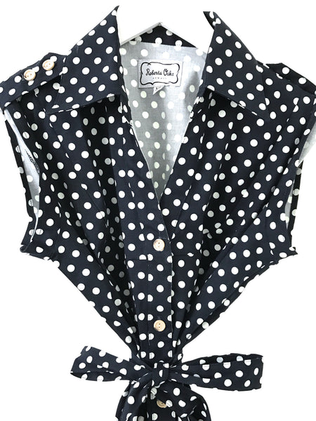 Shirtdress - Navy Dot