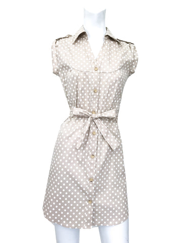 Shirtdress - Beige Dot LAST ONE SIZE S