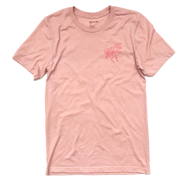 ROBERTA OAKS DBL SIDED PALM TEE PEACH - UNISEX