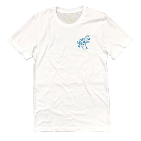 ROBERTA OAKS DBL SIDED PALM TEE WHITE - UNISEX