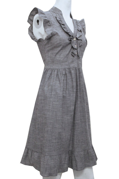 Amore Ruffle Dress Grey