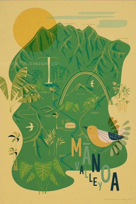 Manoa Valley Travel Print by Nick Kuchar - NEW!