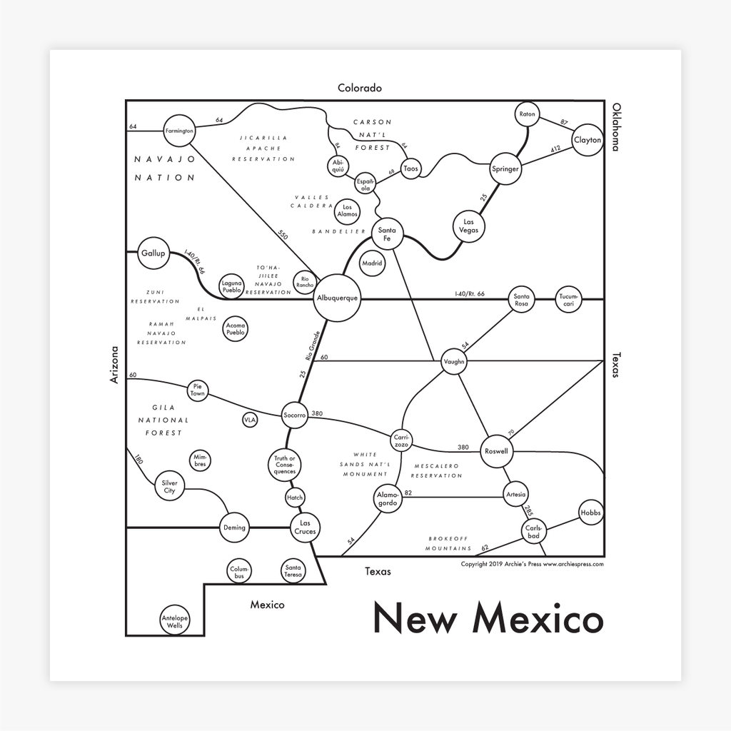 New Mexico Letterpress Print