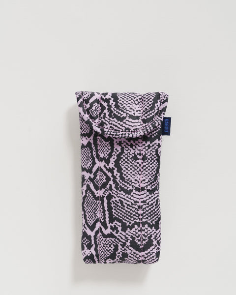 Puffy Glasses Sleeve - Pink Snakeskin