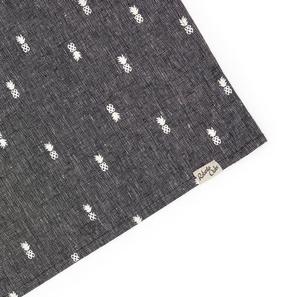 Pineapple Linen Tea Towel - Textured Black
