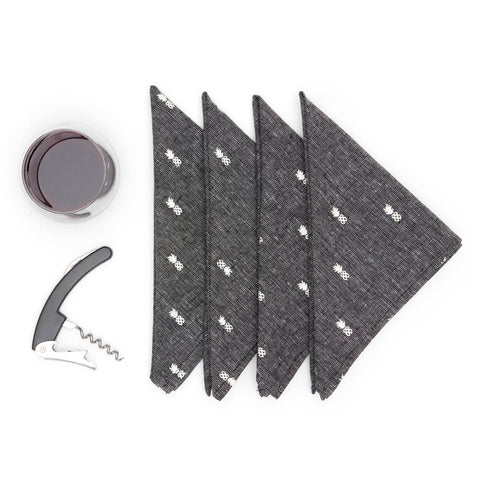 Pineapple Linen Napkin Set - Textured Black