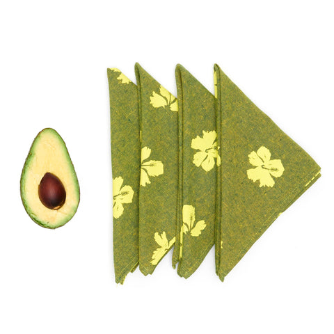 Princeville Hibiscus Linen Napkin Set - Jungle