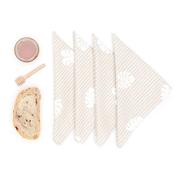 Monstera Linen Napkin Set - Natural Stripe