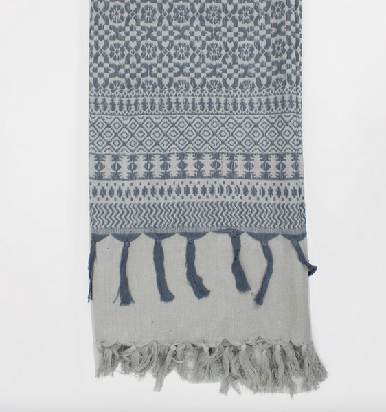 PEARL GREY EMBROIDERED SCARF