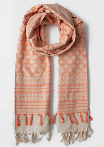 PEACH EMBROIDERED SCARF