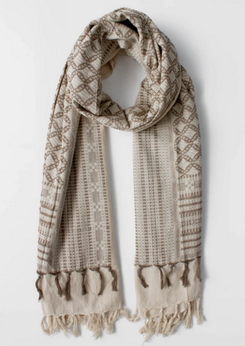 TAUPE EMBROIDERED SCARF