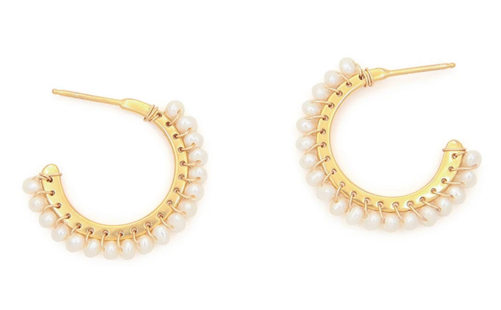 Whipstitched Hoop Earrings Pearl