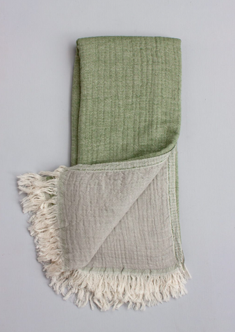 Two-ply Cozy Hammam Towel, Olive + Dust